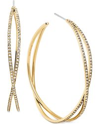 Michael Kors Crystal Pavé Criss-Cross Hoop Earrings gold - Lyst