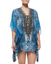 Camilla Crystallized Lace-up Printed Caftan - Lyst