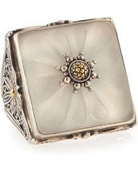 Konstantino - Square Flower Carved Frosted Crystal Ring - Lyst