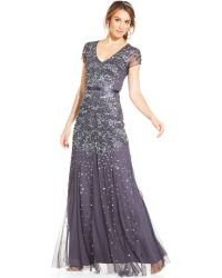 Adrianna Papell Cap Sleeve Embellished Gown - Lyst