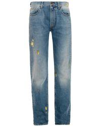 Aries - Metallic-foil High-rise Boyfriend Jeans - Lyst