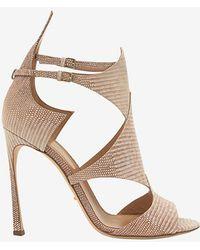 Sergio Rossi Patricia Lizard Stamped Stiletto Sandal - Lyst