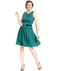 Ellen Tracy Sleeveless Belted Pleated Dress - Lyst