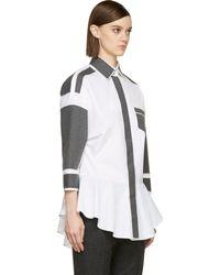 Viktor & Rolf White Patchwork Peplum Shirt - Lyst