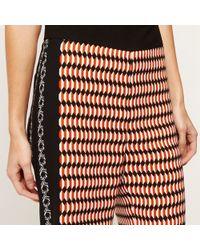 River Island | Orange Print Belted Shirt Orange Print Wide Leg Crop Trousers | Lyst