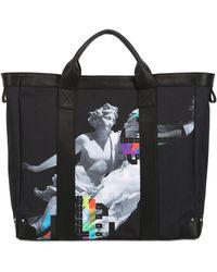 Frankie Morello - Printed Cotton Canvas Tote Bag - Lyst