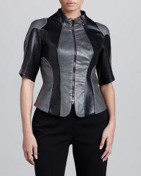 Donna Karan New York Colorblock Leather Racer Jacket 10 - Lyst