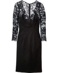 Ermanno Scervino Lace Insert Fitted Dress - Lyst