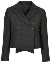 Topshop Tailored Cropped Jacket - Lyst