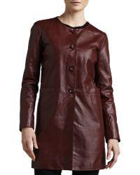 Neiman Marcus - Basic Long Leather Jacket - Lyst