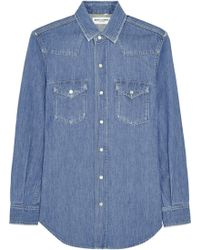 Saint Laurent Blue Denim Shirt - Lyst