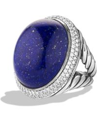 David Yurman Dy Signature Oval Ring with Lapis Lazuli  Diamonds - Lyst