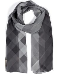 Burberry Silk Check Colorblock Scarf - Lyst