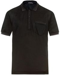 Dolce & Gabbana Dot-Print Wool And Silk-Blend Polo Shirt - Lyst