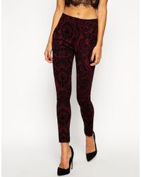 Asos Tube Trousers In Baroque Flocked Paisley - Lyst
