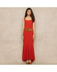 Blue Label Red Crepe Maxidress - Lyst
