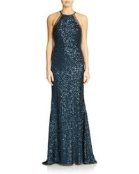 Badgley Mischka Halter-neck Sequined Gown - Lyst