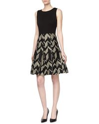 Badgley Mischka Geo Crepe Ponte Day Dress - Lyst
