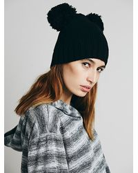 Free People Double Pom Beanie - Lyst