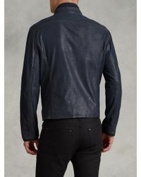 John Varvatos Zip Front Leather Jacket - Lyst