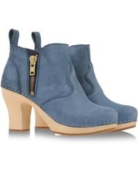 Swedish Hasbeens Blue Ankle Boots - Lyst