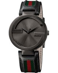 Gucci Interlocking Xl Pvd and Leather Watch - Lyst