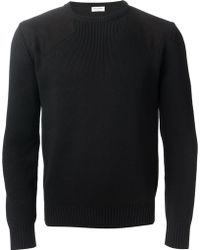 Saint Laurent Black Knitted Jumper - Lyst