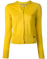 Burberry Yellow Cropped Cardigan - Lyst