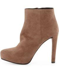 Prada Suede Almondtoe Platform Ankle Boot - Lyst