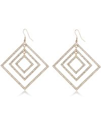 River Island - Gold Tone Encrusted Square Drop Earrings - Lyst