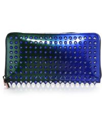 Christian Louboutin Panettone Studded Metallic Ombre Continental Wallet blue - Lyst