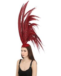 Nana' - Mohawk Red Maxi Feather Headdress - Lyst