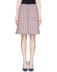St. John 'Americana' Satin Piping Knit A-Line Skirt multicolor - Lyst