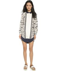 Tory Burch Printed Silk Shirtdress - New Ivory Frenesi - Lyst