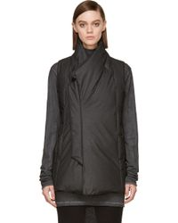 Ma Julius Grey Silk and Down Quilted Vest - Lyst