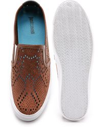 Just Cavalli - Punched Leather Slip On Shoes - Lyst
