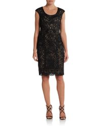 Sue Wong Capsleeve Ribbonlace Dress - Lyst
