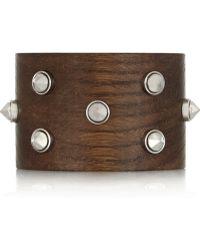 Alexander McQueen Studded Wooden Cuff - Lyst