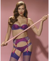 Agent Provocateur Purple Hyacinth Suspender - Lyst