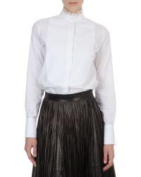 Valentino Organza-Collar Cotton Blouse - Lyst