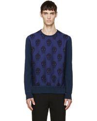 Alexander McQueen Blue Skull Jacquard Sweatshirt blue - Lyst