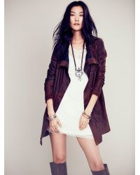 Free People Distressed Leather Jacket - Lyst