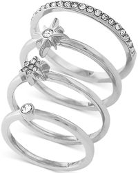 Vince Camuto - Silver-tone Set Of 4 Crystal Pavé Stack Rings - Lyst