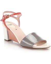 Fendi | Fantasia Matte & Patent Leather Sandals | Lyst