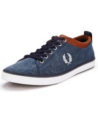 Fred Perry Hallam Printed Canvas Plimsolls - Lyst