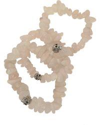 Duchess Of Malfi Rose Quartz Skull Bracelet beige - Lyst