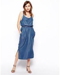 Asos Denim Cami Midi Dress in Dark Wash - Lyst