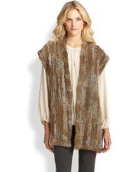 Josie Natori Knitted Fur Vest - Lyst