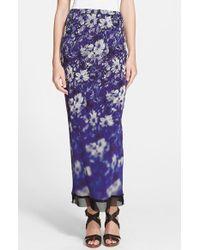 Jean Paul Gaultier Mesh Trim Floral Print Tulle Maxi Skirt - Lyst