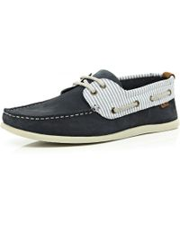 River Island Navy Stripe Boat Shoes - Lyst
